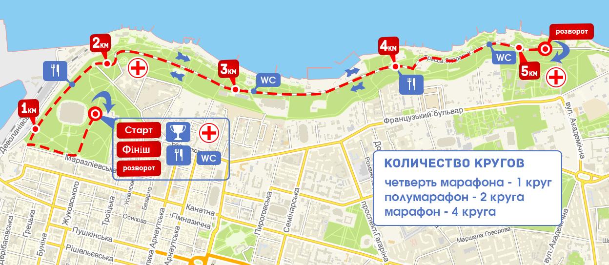 10-й Одесский марафлн карта трассы